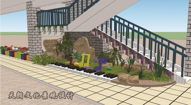 天朗设计大马路小学走廊效果图